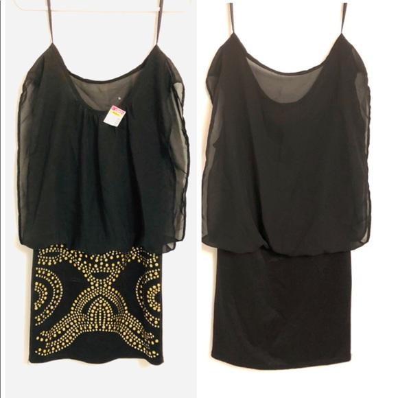 Deb Dresses & Skirts - NWT💥M💥Chiffon Deb sleeveless sheath gold studs